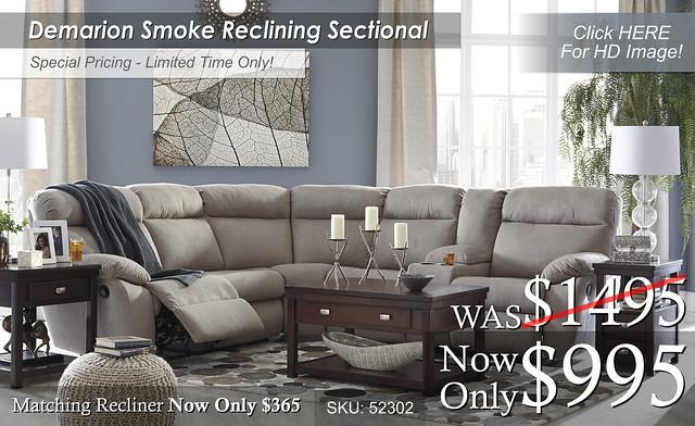 Demarion Smoke Reclining Sectional