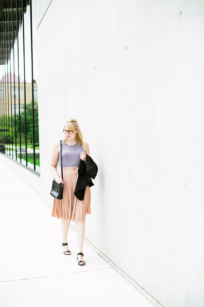black blazer striped tank blush midi skirt6