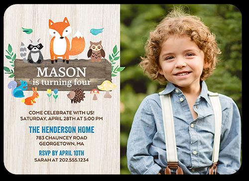 woodland wishes boy 5x7 birthday party invitations shutterfly
