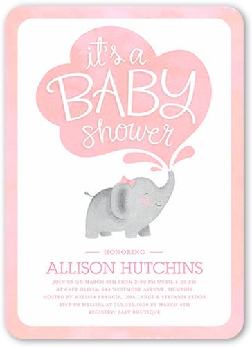 Little Elephant Girl 5x7 Custom Baby Shower Invitations