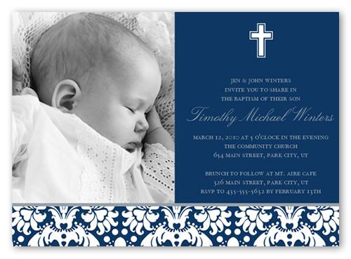Baptism Baroque Navy Invitation Baptism Invitations