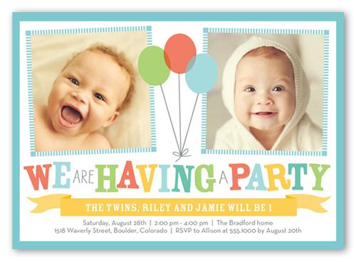 bright balloons twin birthday invitation shutterfly