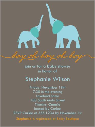 Elefun Baby Boy 4x5 Baby Shower Invitation Cards Shutterfly