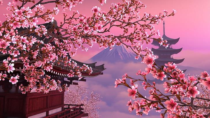 Hd Wallpaper Artistic Japanese Cherry Blossom Pagoda Sakura Wallpaper Flare