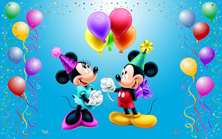 Hd Wallpaper Mickey Mouse Happy Birthday Minnie Celebration Balloons Gifts For Mini Disney Picture Wallpaper For Desktop 2560 1600 Wallpaper Flare