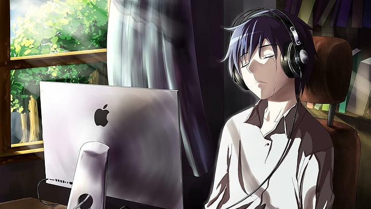 Hd Wallpaper Tears Sadness Room Mangaka Anime Guy Computer Cry Mood Wallpaper Flare