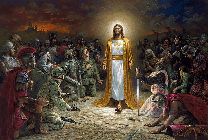 Hd Wallpaper Jesus Christ Painting Kneeling Glowing Soldier Warrior Sword Wallpaper Flare