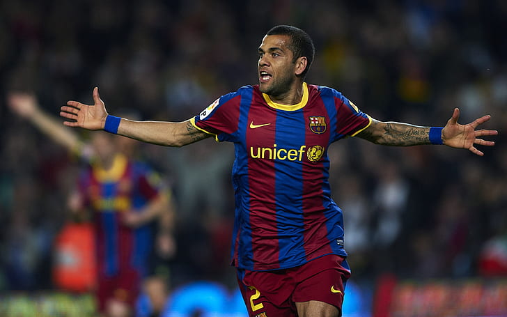 HD wallpaper: Dani Alves, men's blue and red nike unicef jersey t-shirt, barselona | Wallpaper Flare