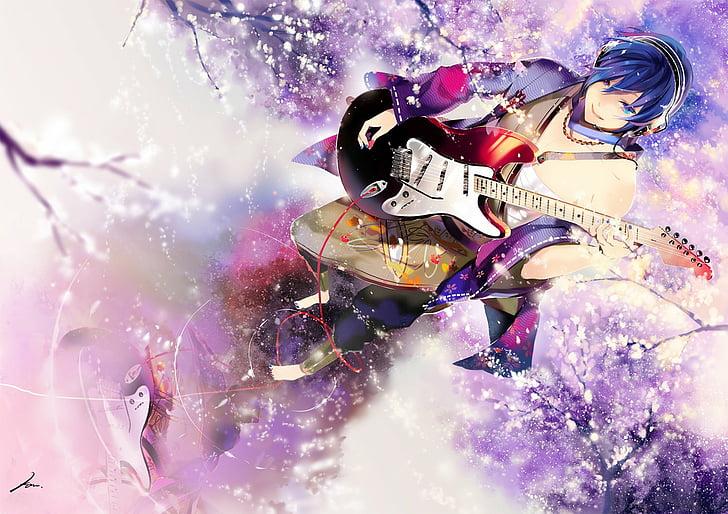 Hd Wallpaper Anime Guitar Guy Music Sakura Tree Vocaloid Wallpaper Flare