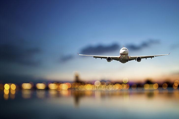 Hd Wallpaper White Aeroplan Sea The Sky Flight The City Lights The Plane Wallpaper Flare