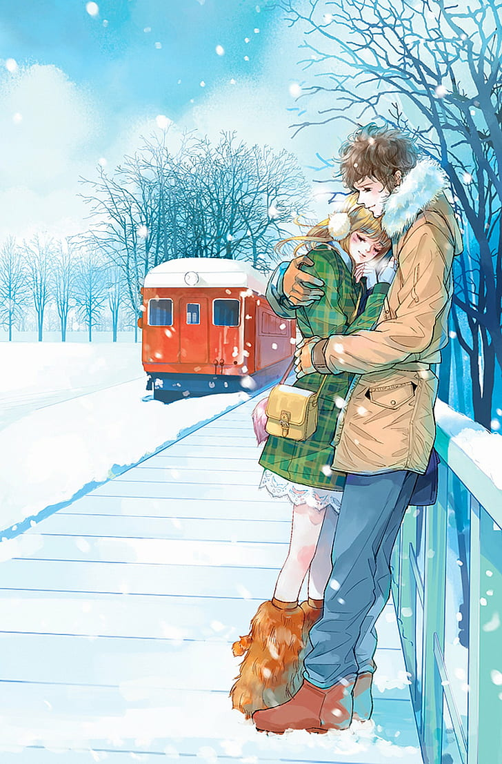 Hd Wallpaper Anime Couple Cute Love Pretty Red Romantic Snow Train Wallpaper Flare