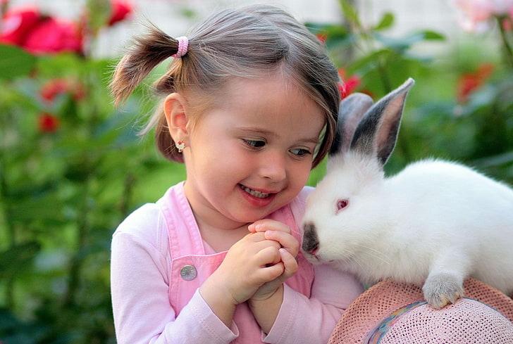 Hd Wallpaper Friendship Girl Love Rabbit Supplies Childhood Girls Wallpaper Flare