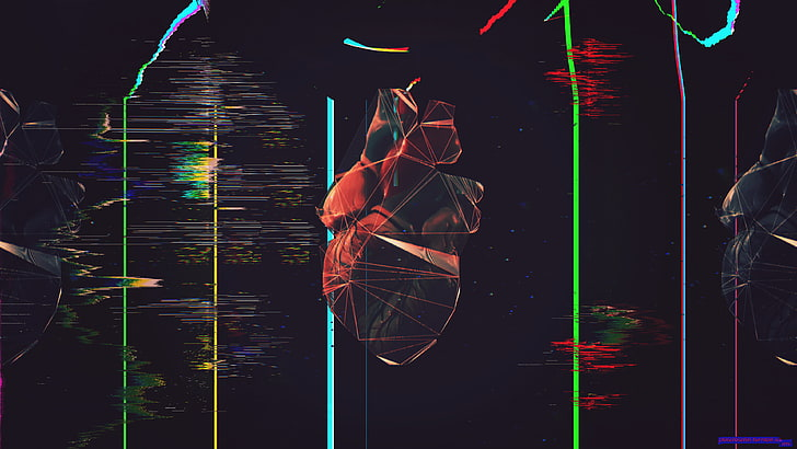 Hd Wallpaper Black And Red Human Heart Illustration Glitch Art Polygon Art Wallpaper Flare