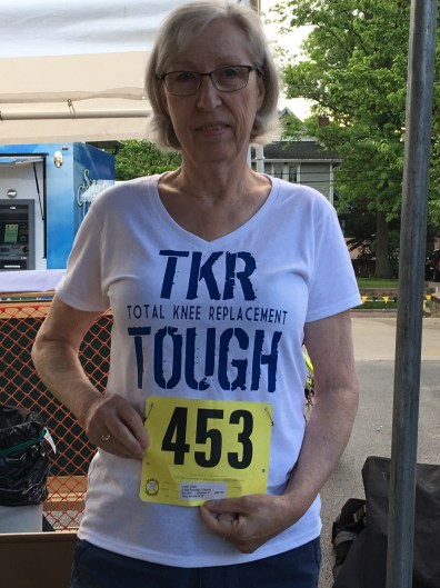 CAO total knee replacement, Cheri, proudly displays her number for the Bonifest race in Edwardsville.