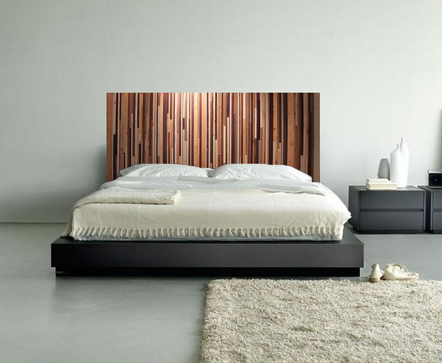 Natural Reclaimed Wood Headboard on Bed