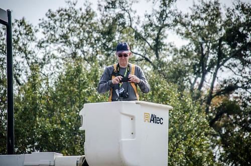 Bill Hightower in bucket truck
