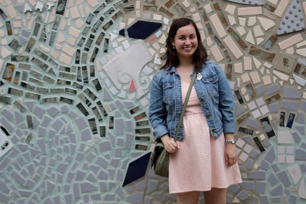 Denim Jacket, Skater Dress, Clogs | Shades of Sarah