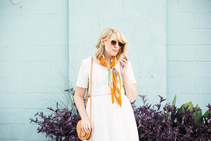 vintage orange floral silk scarf