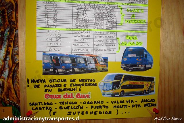 Residencial Alerón de Babor / Horario Buses rurales de Quemchi