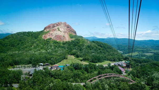 Taking the cable car up to the Mount Usu