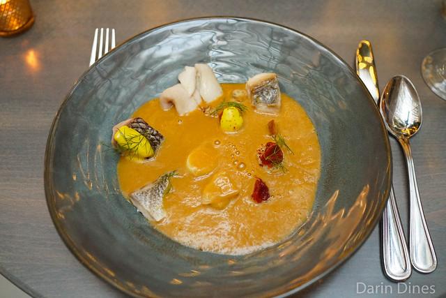 Bourride delicate fish stew, fennel, potato, leeks, garlic, saffron, aioli