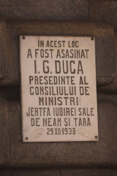 Memorial plaque at Sinaia railway station in Romania