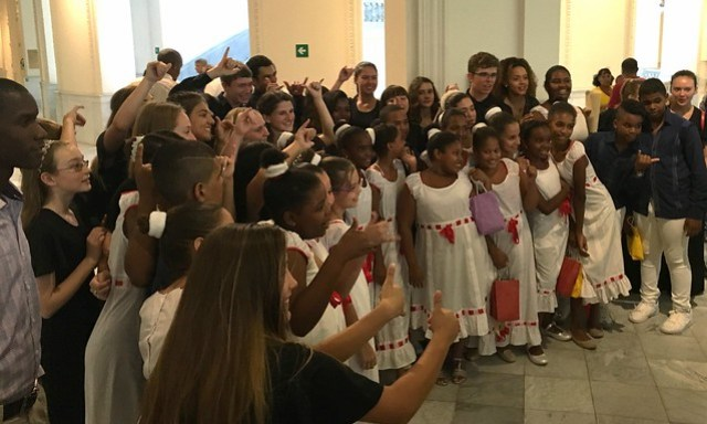 Getting to know our Cuban hosts after concert with the Cuban National Children's Choir