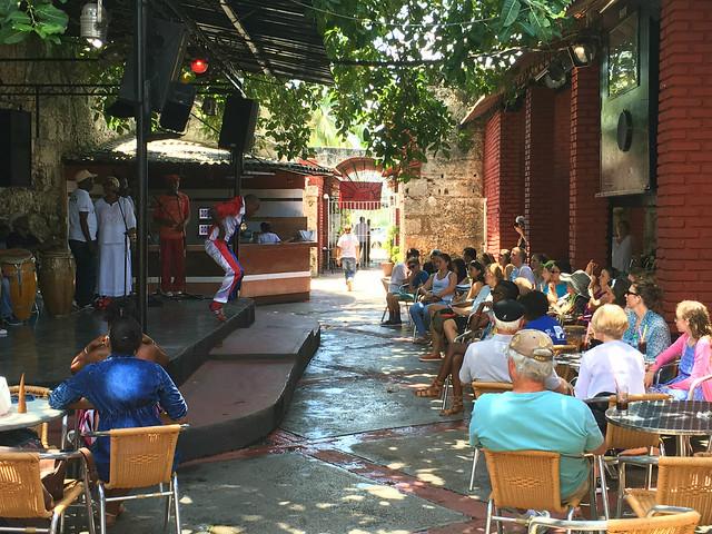 Cuban musicians outside a restaurant