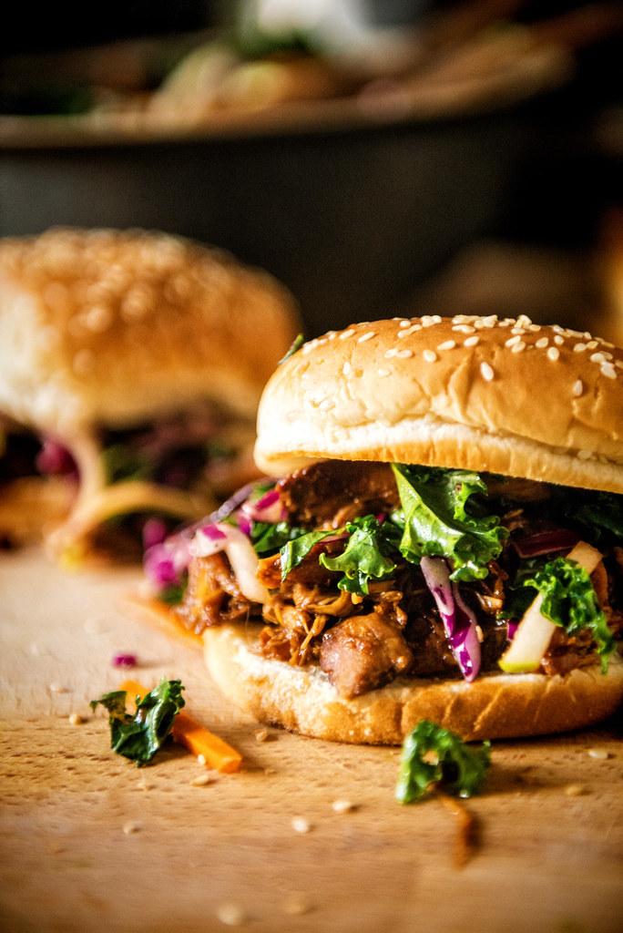 Slow Cooker Hoisin Sliders with Sriracha Kale Slaw {Girl Carnivore}
