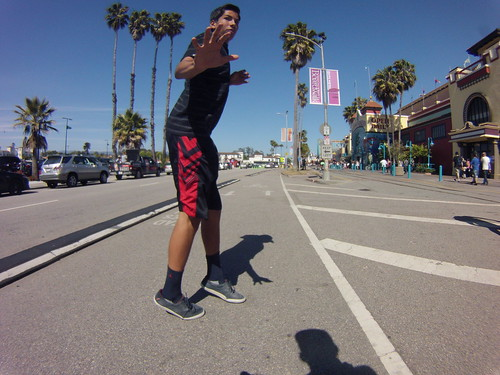 This kid sprinted across Beach Street then stopped right in front of me