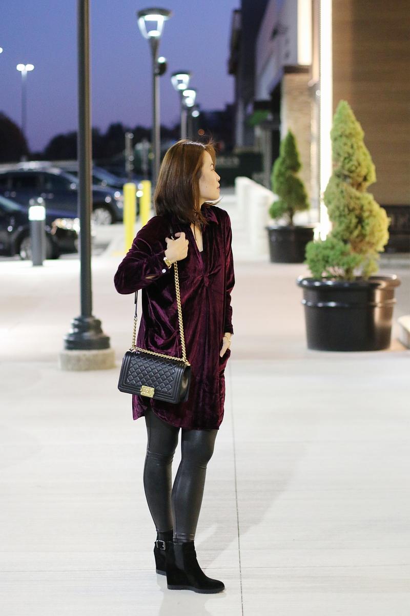 velvet-dress-chanel-boy-bag-faux-leather-leggings-ankle-boots-7