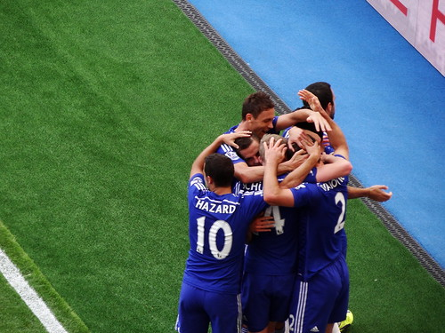 Chelsea players celebrate Diego Costa's goal against Leicester City