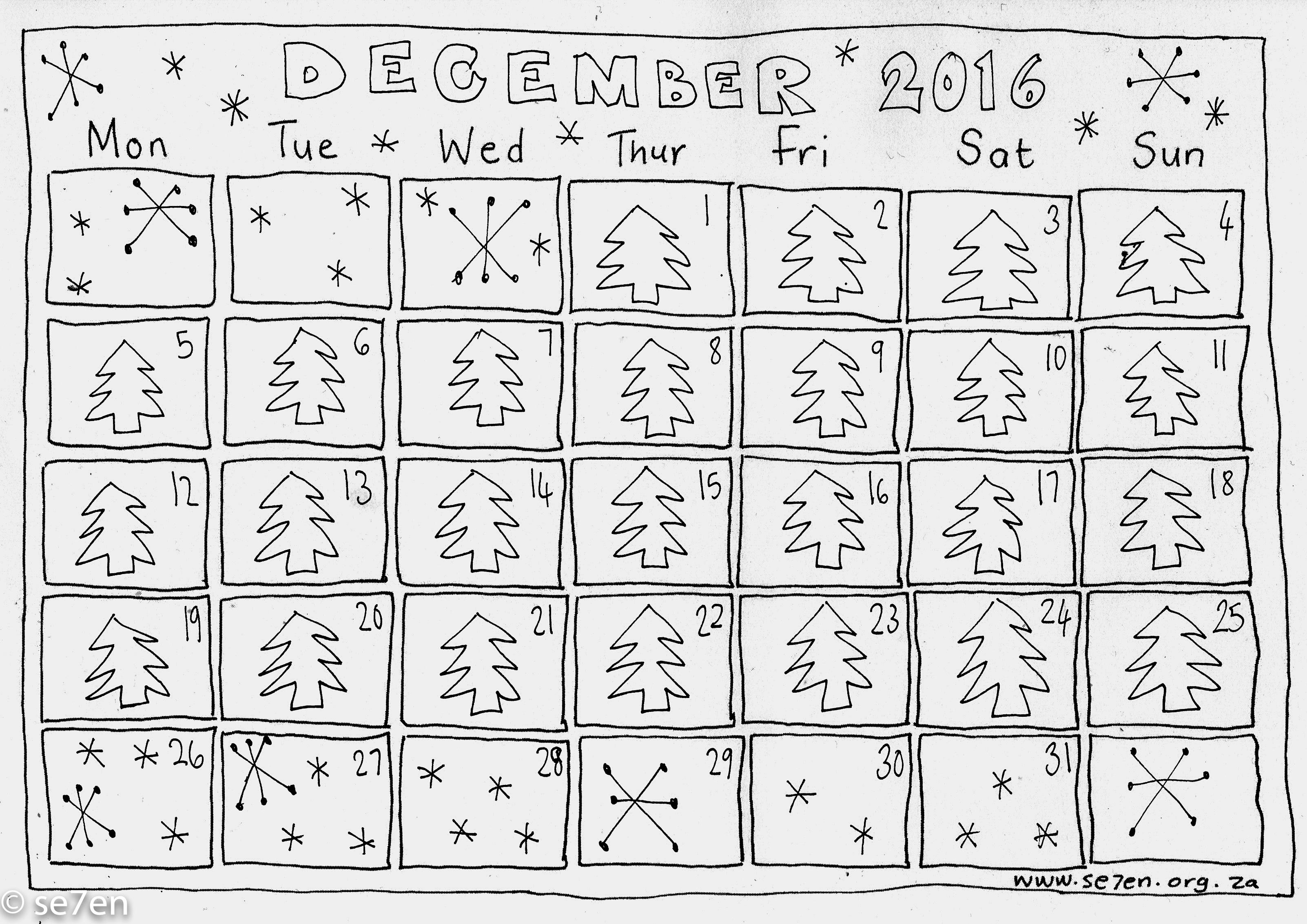 Se7en S December And Your Free Printable Calendar Se7en