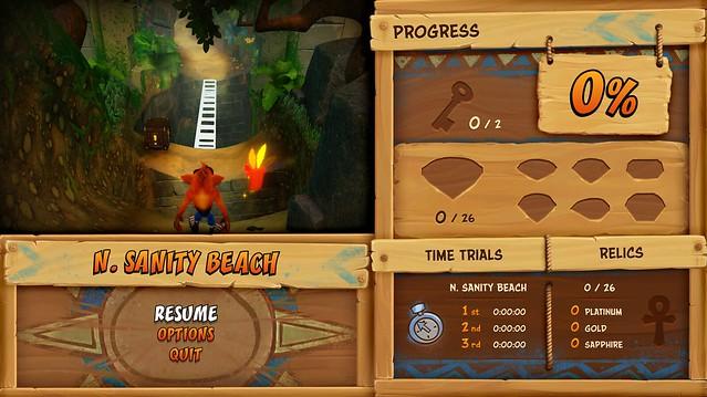 Crash Bandicoot N Sane Trilogy, Pause Menu