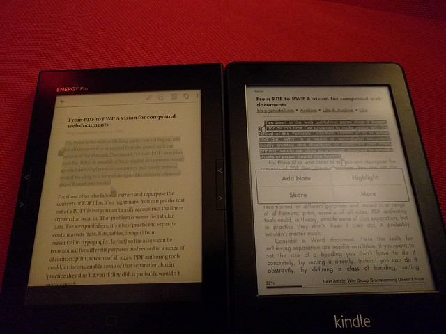 Energy Pro HD 6 vs Amazon kindle paperwhite 2