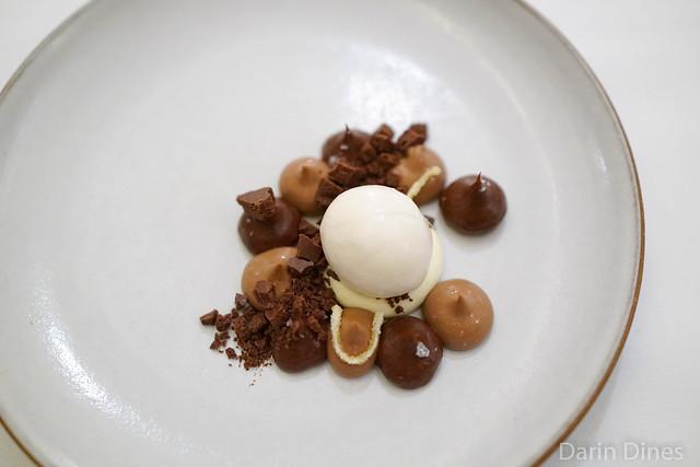 Chocolate ganache with orange cream