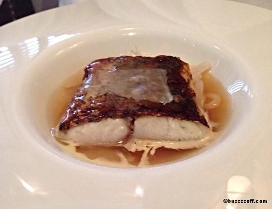Restaurant Martin Wishart - Sea Bass, white radish, enoki mushroom, lard di Colonnata
