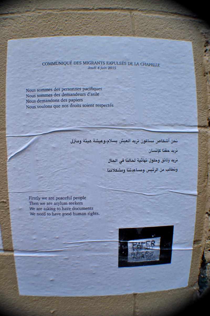 Communiqué des Migrants Expulsés de La Chapelle