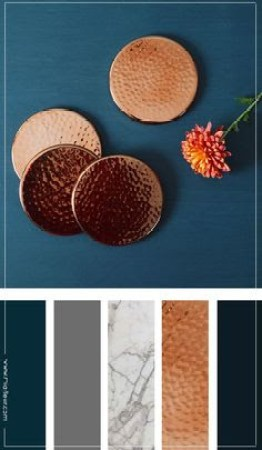 Bathroom Decor - Navy & Copper This is my bathroom inspiration - With the colors Navy, Grey, Grey Marble, Copper, Blush.