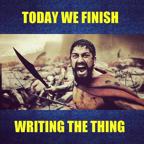 I haven't been posting much because I'm THIS CLOSE to finishing the first draft of SEAFLAME, Book One. TODAY I FINISH WRITING THE THING, fellow writer-warriors!!! #amwriting