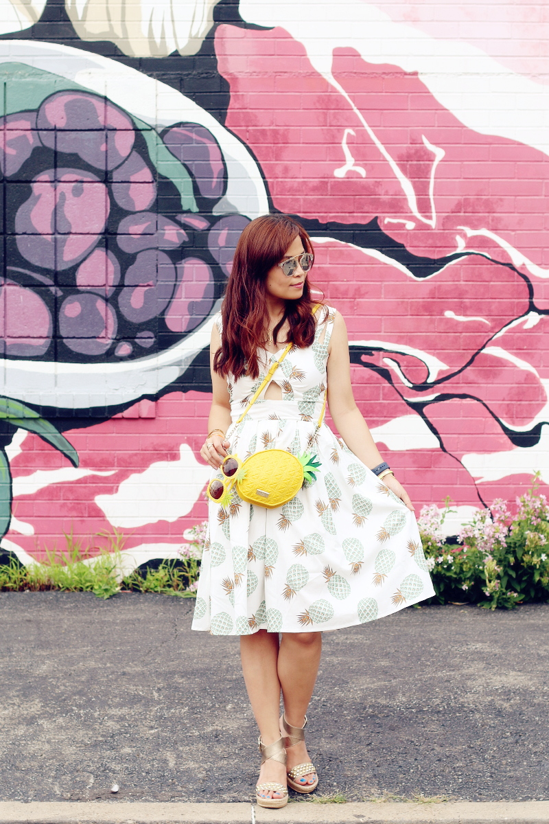 zaful pineapple print dress, pineapple bag