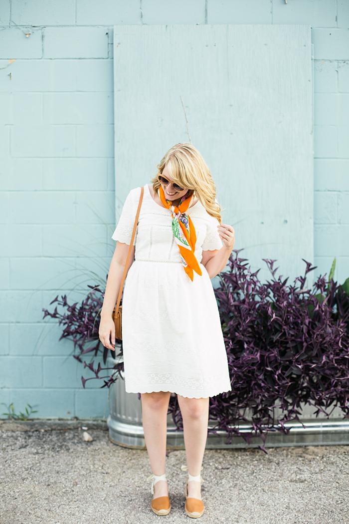 francesca's little white dress and Soludos espadrille sandals