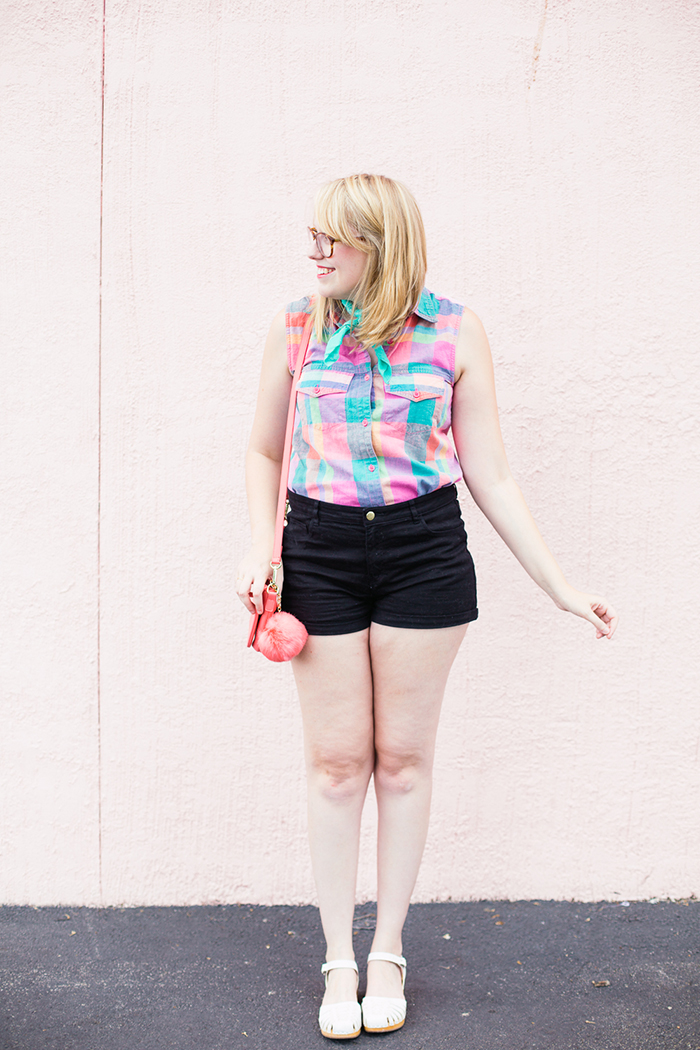 Swedish Hasbeens Debutante clogs, H&M high-waisted shorts, and vintage shirt