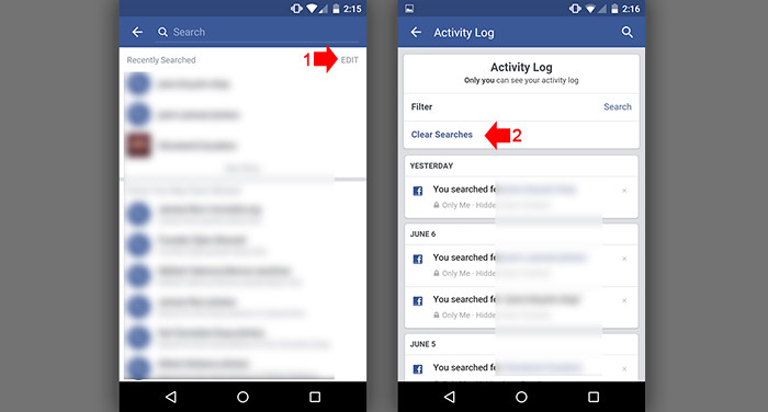 How to clear Facebook Search History in mobile