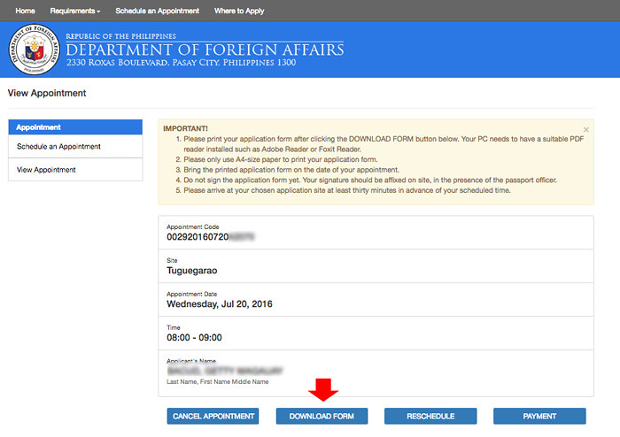 Passport Appointment - Download Form