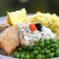 Friterad tofu i ölsmet med dillmos (vegan)