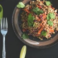 Crunchy Quinoa Salad with Miso Tahini Dressing