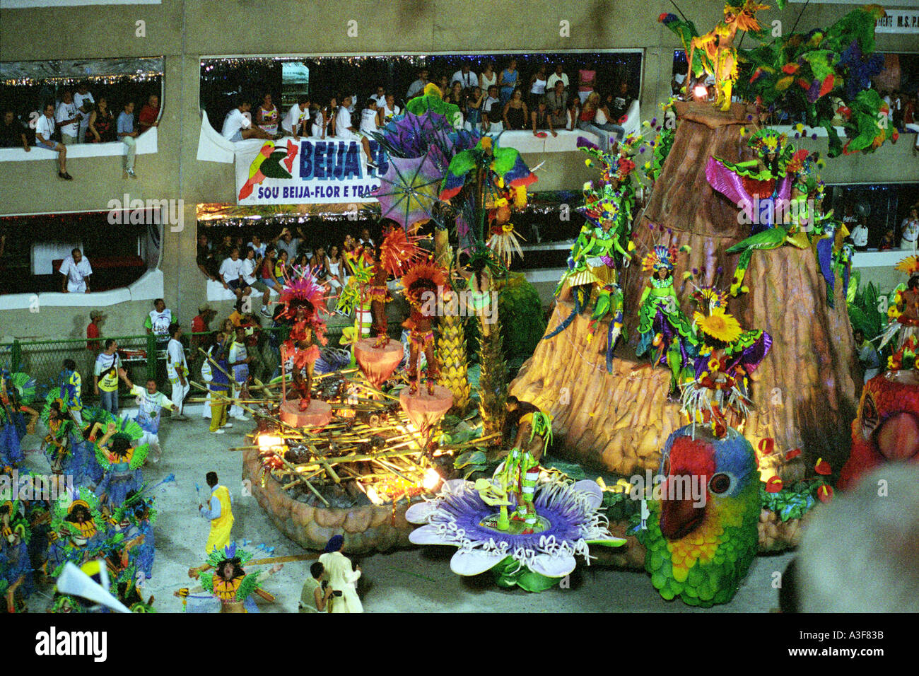 Men And Women In Costume Parading On A Tropical Themed Float In Rio Stock Photo Royalty Free