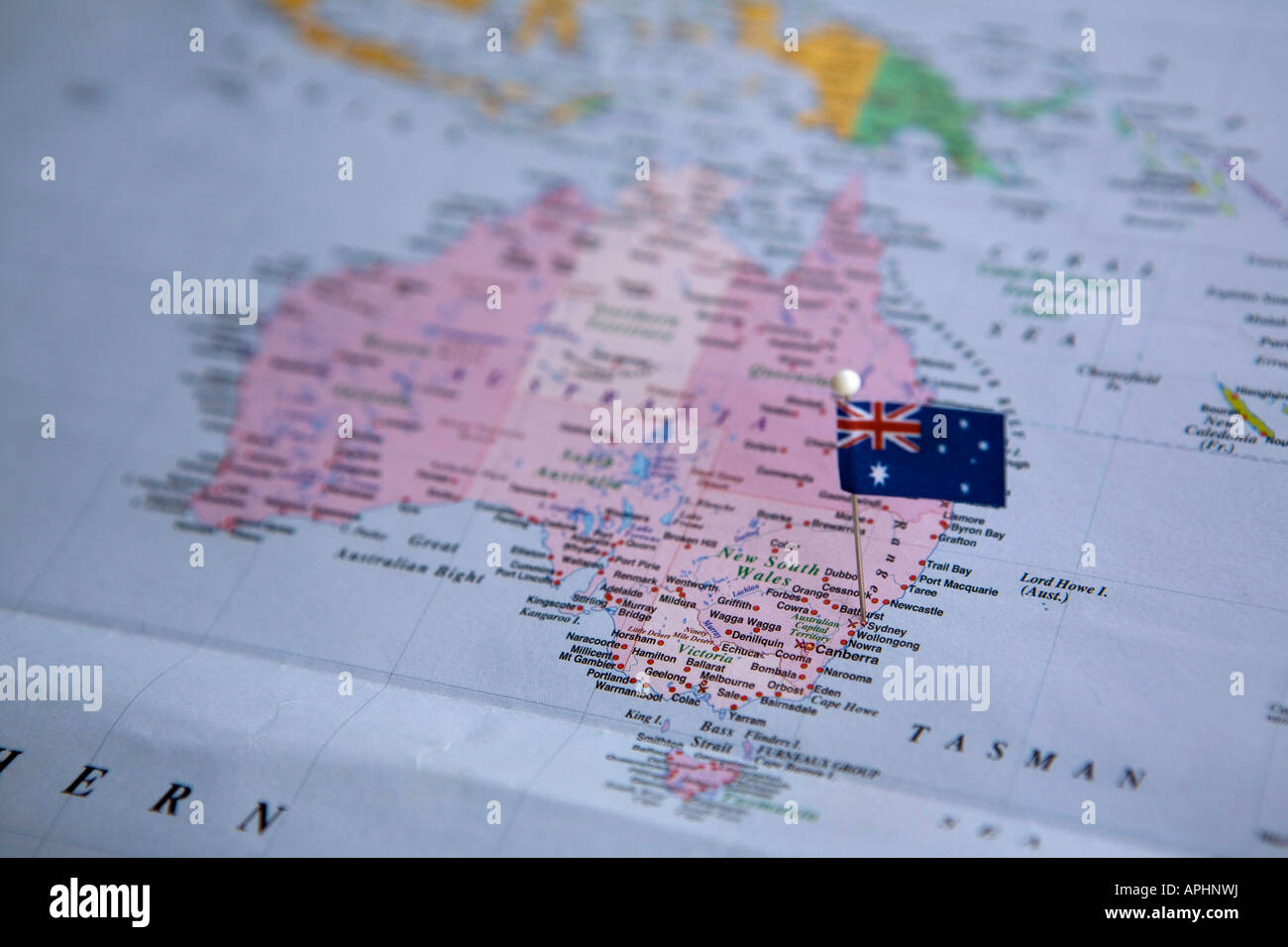 Flag Pin Placed on World Map in Sydney Australia Stock Photo     Flag Pin Placed on World Map in Sydney Australia
