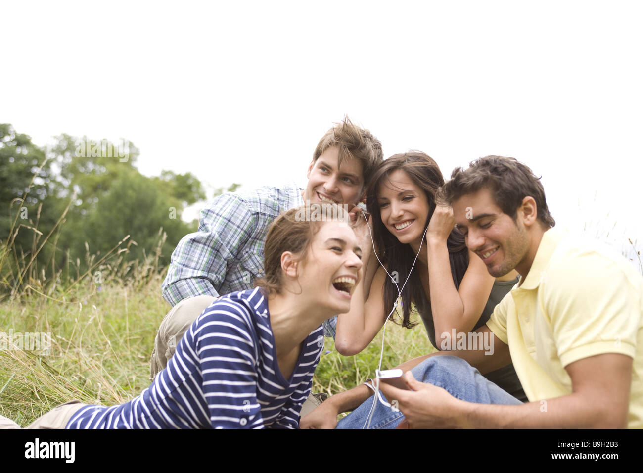 Group Leisure Time Activity Mp3 Music Hears Nature Outside 20 30 Stock Photo Royalty Free Image